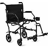 "Medline Ultralight Transport Mobility Wheelchair, 19"" Wide Seat, Permanent Desk-Length Arms, Swing Away Footrests, Black Frame"