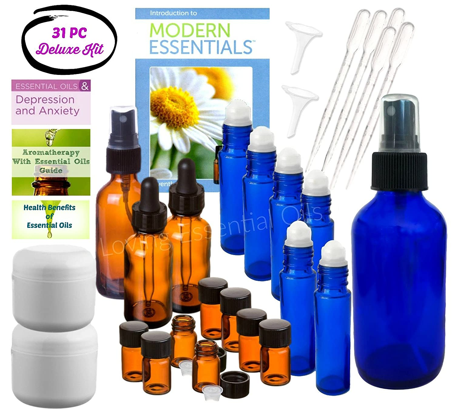 31 piece Aromatherapy Kit with Essential Oil Guide Reference Material