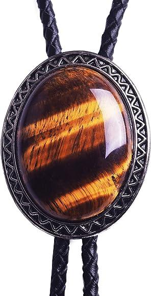 Corbata Bolo con piedra de ojo de tigre natural, estilo celta ...