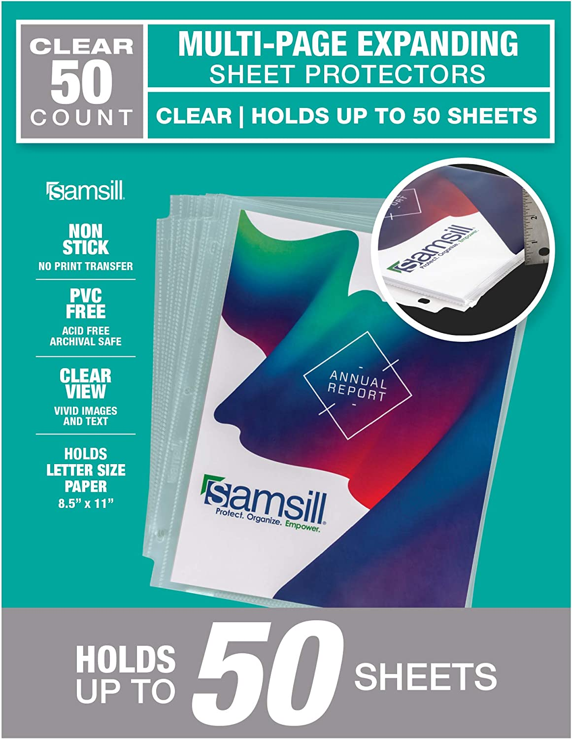 """Samsill 50 Pack Multi Page Sheet Protectors, Holds up to 50 Sheets of Paper Per Sheet, 8.5"""" x 11"""" Clear Page Protectors, Heavyweight"""