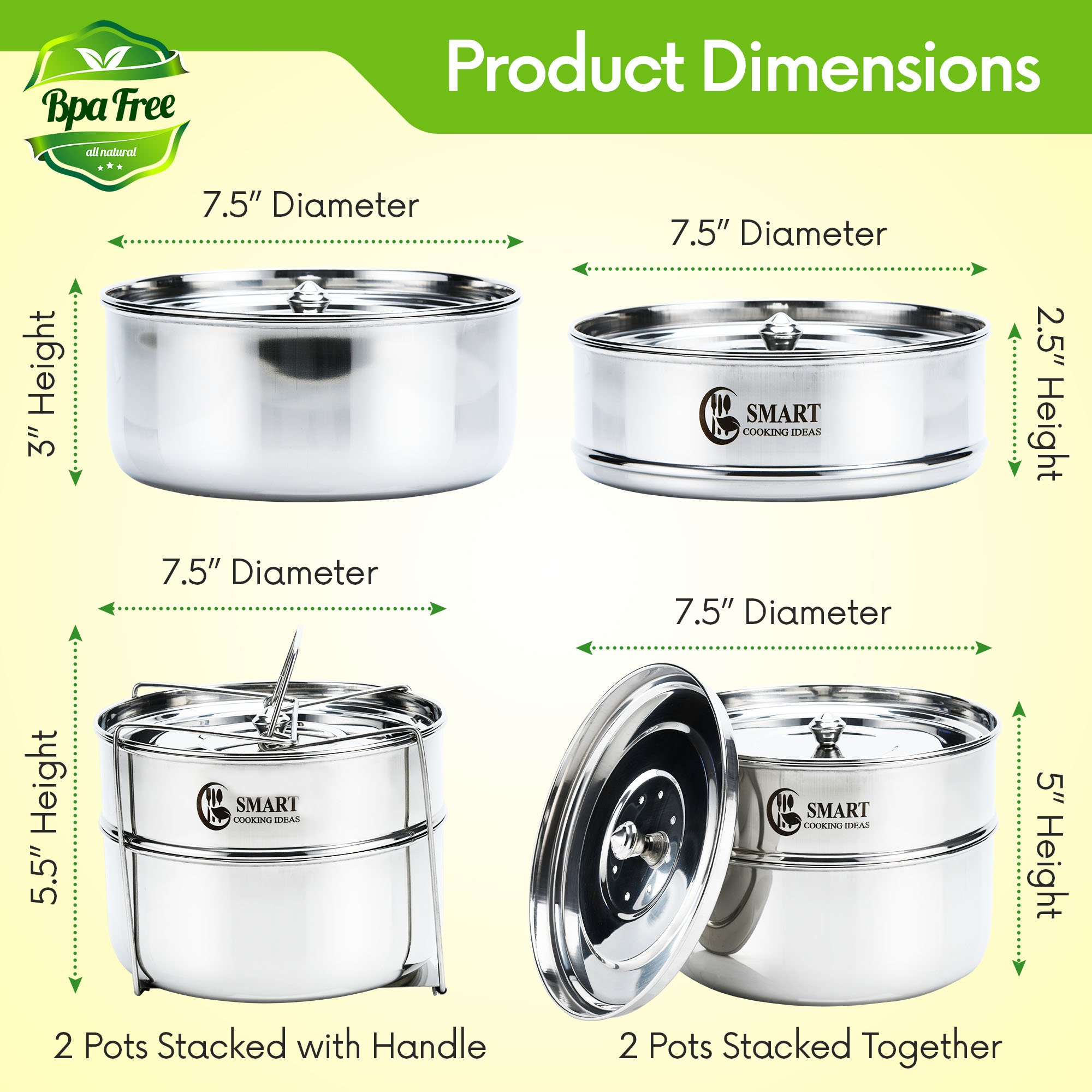 Stackable Stainless Steel Pressure Cooker Steamer Insert Pans with sling - For Instant Pot Accessories 6,8 qt-Baking, Casseroles, Lasagna Pans, Food Cooker, Upgraded Interchangeable Lid-Instapot Pans by SMART COOKING IDEAS (Image #2)