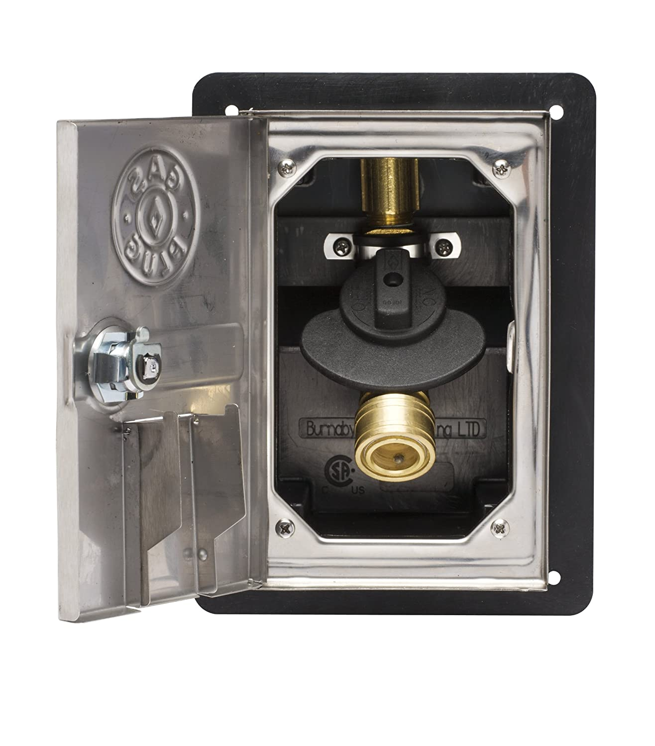 Burnaby Manufacturing Ltd GR0101-SS-50 Gas Plug Recessed Gas Outlet Box with 1/2-Inch Inlet, 3/8-Inch Outlet, Black PVC Enclosure and Stainless Steel Lockable Door