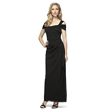 Alex Evenings Women s Petite Long Dress with Side-Ruched Skirt Black ... 0f97a50eeb