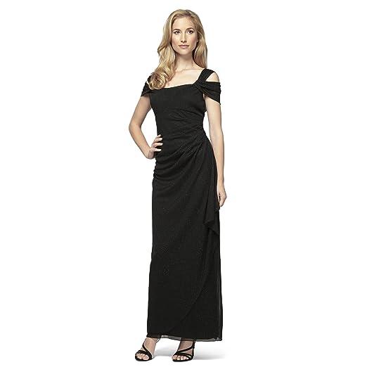 Alex Evenings Womens Long Cold Shoulder Dress Petite And Regular