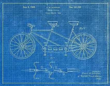 Amazon schwinn tandem bicycle 1944 blueprint patent art schwinn tandem bicycle 1944 blueprint patent art print malvernweather Image collections