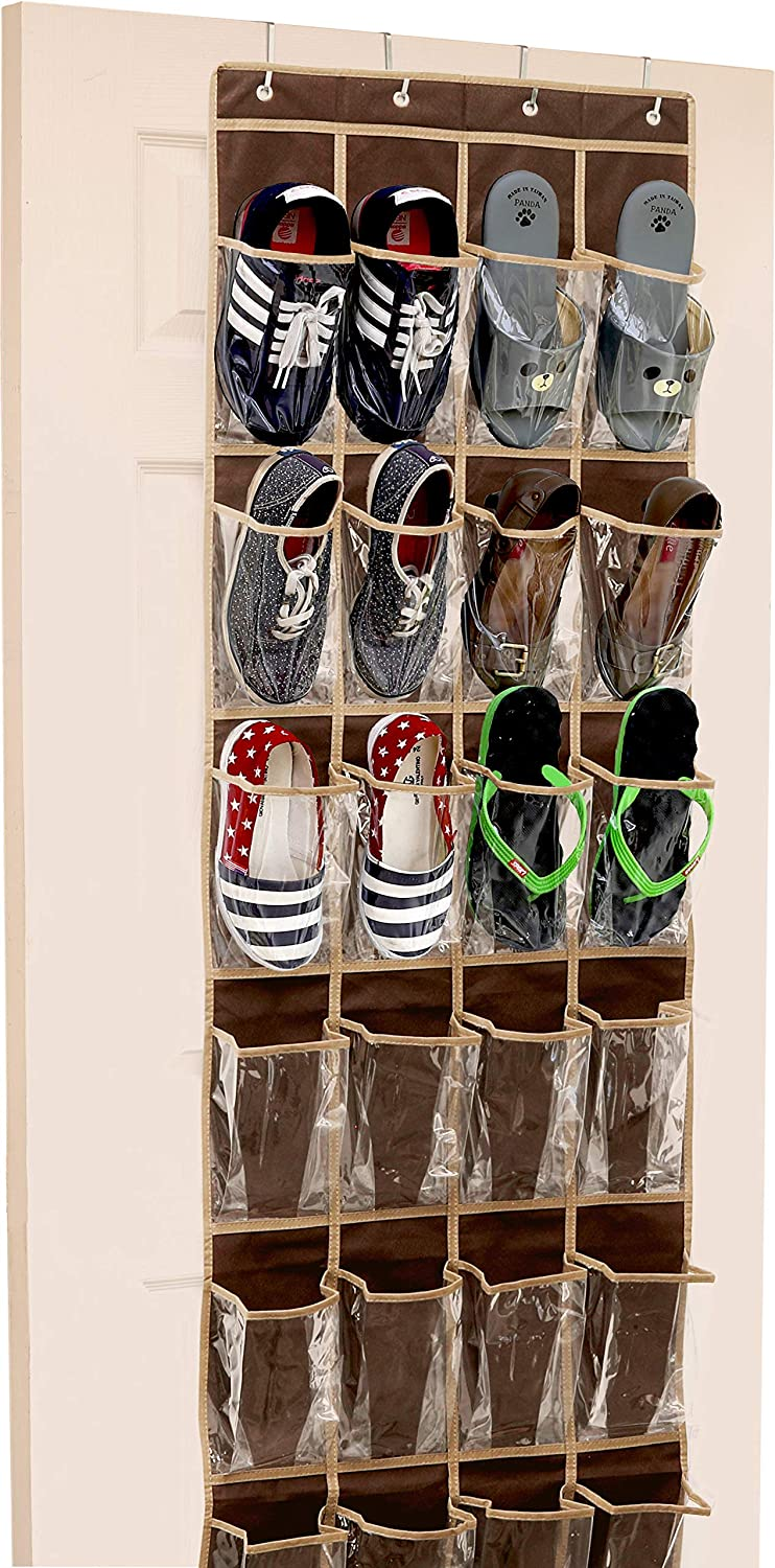 24 Pockets - SimpleHouseware Crystal Clear Over The Door Hanging Shoe Organizer, Brown (64'' x 19'')