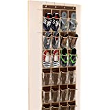 Simple Houseware Over The Door Hanging Organizer, Fabric, Brown, 24 Clear Pockets