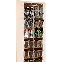 24 Pockets - SimpleHouseware Crystal Clear Over The Door Hanging Shoe Organizer, Brown