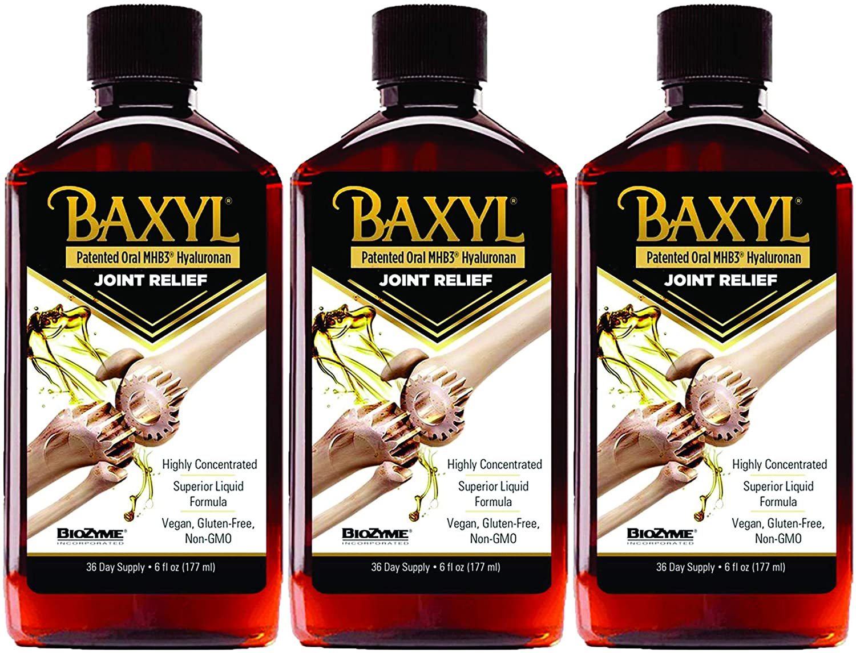Baxyl Liquid Hyaluronic Acid Supplement - Natural Citric Acid, Potassium Sorbate Ingredients Formulated Flavorless Syrup - Provide Healthy Cartilage & Bone Formation - 3 Bottles of 6 Fl Oz