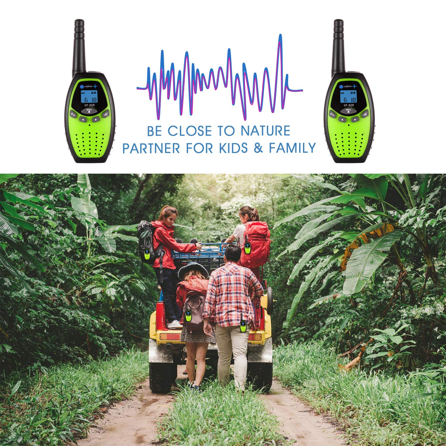 onfaon Walkies Talkies for Kids,22 Channels 2 Way Radios Long Range with Automatic Battery Save,Range Up to 2 Miles for Camping,Hiking,Fishing,Outdoor Activities. (Green) by ONFAON (Image #6)