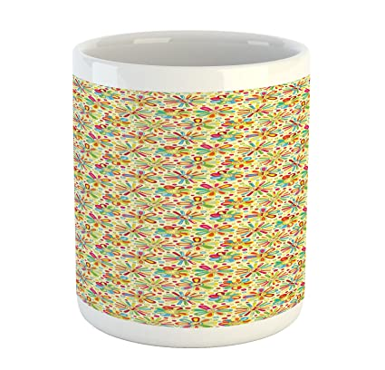 b3305e4a195 Amazon.com: Ambesonne Floral Mug, Cartoon Style Colorful Dots and ...