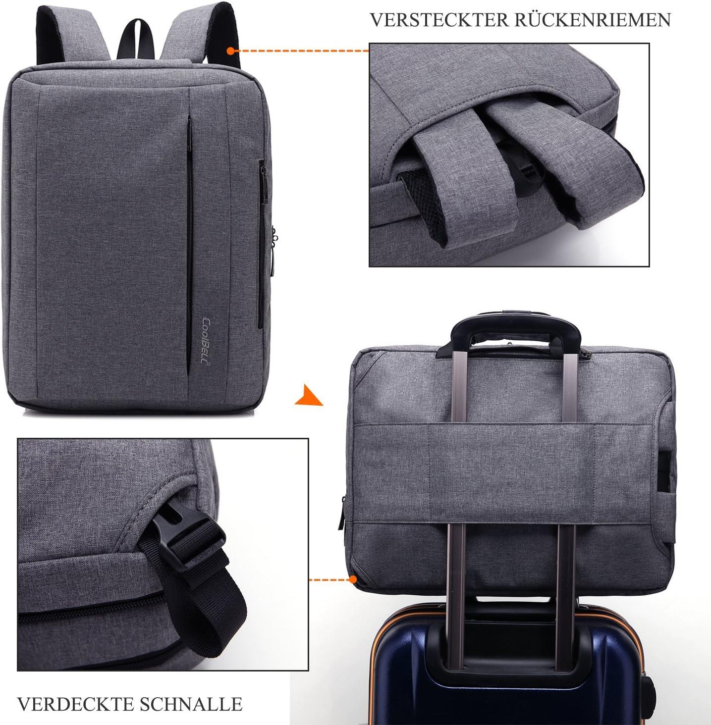 CoolBell 17,3 Zoll umwandelbar Laptop Tasche//Rucksack Messenger Bag Canvas Umh/ängetasche Business Backpack Arbeitastasche Mehrzweck Aktentasche Notebooktasche f/ür Laptop//MacBook//Herren Grau