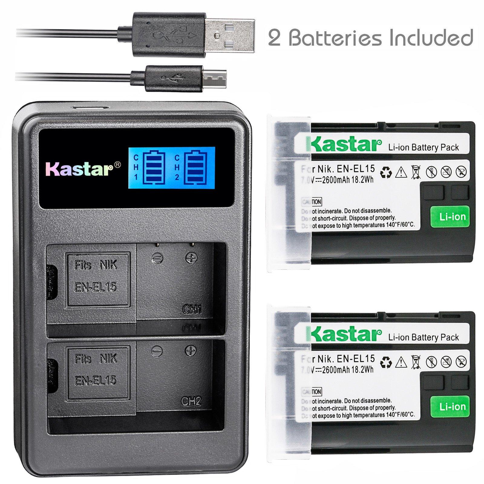Kastar Battery (X2) & LCD Dual Slim Charger for Nikon EN-EL15, ENEL15 and Nikon 1 V1, D500, D600, D610, D750, D800, D7000, D7100, D800, D800E DSLR Camera, Grip MB-D11, MB-D12, MB-D14, MB-D15, MB-D16