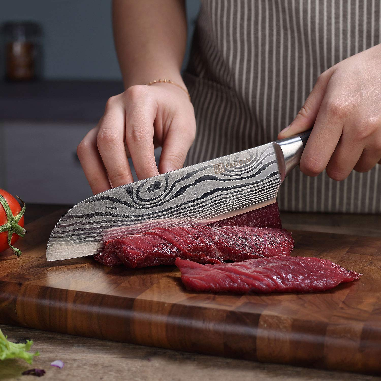 Santoku Knife - PAUDIN Classic 7 inch Hollow Ground Sharp Knife, German High Carbon Stainless Steel Kitchen Knife by PAUDIN (Image #3)