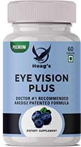 Hoag's Eye Vitamins Vision Plus - AREDS 2 Formula with Lutein, Zeaxanthin, Natural Vitamin C, Zinc - Supplement for Dry Eyes, Vision Preservation, Eye Health, Macular Support - 60 Vegan Capsules