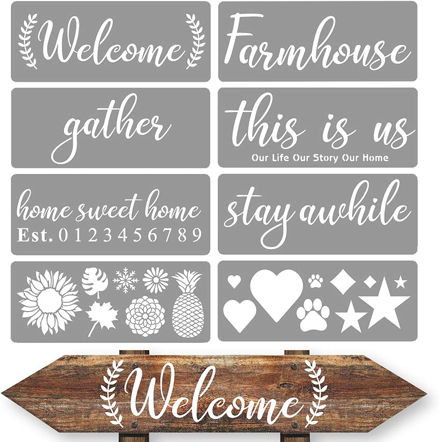 10 Pieces Farmhouse Stencils Farm Reusable Stencils Farm Theme Painting Stencils for Scrapbooking Drawing Tracing DIY Furniture Wall Floor Fabric Decors 2 Sizes and 10 Patterns