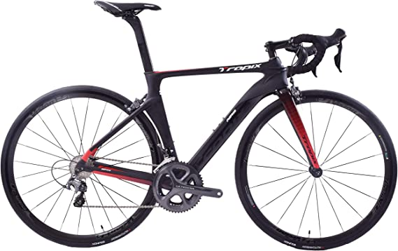 Tropix Paris 700c - Bicicleta de Carretera (48 cm, Estructura Ligera de Fibra de Carbono, 22 velocidades, 8,3 kg), Color Negro y Rojo: Amazon.es: Deportes y aire libre