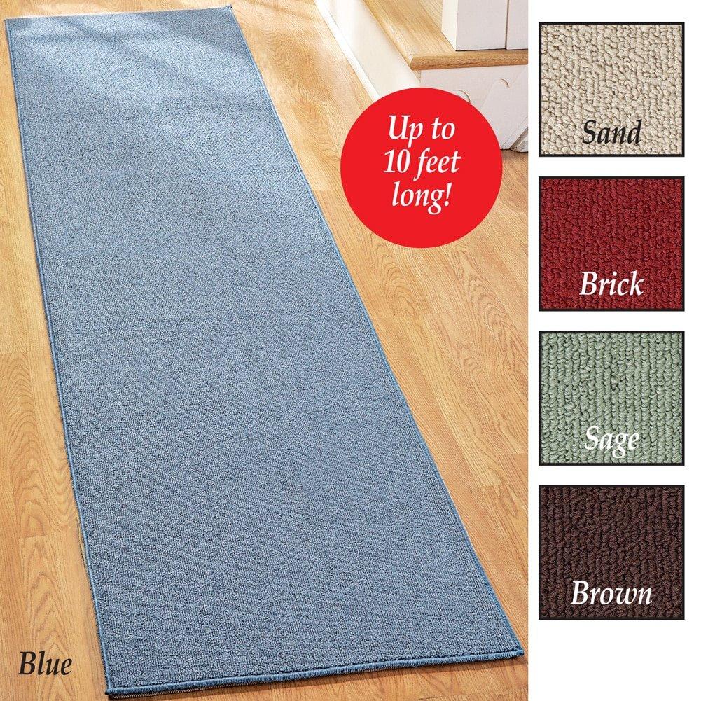 Extra long wide nonslip floor runner rug nonskid 90 120 140 sand sage blue ebay - Extra long carpet runners ...