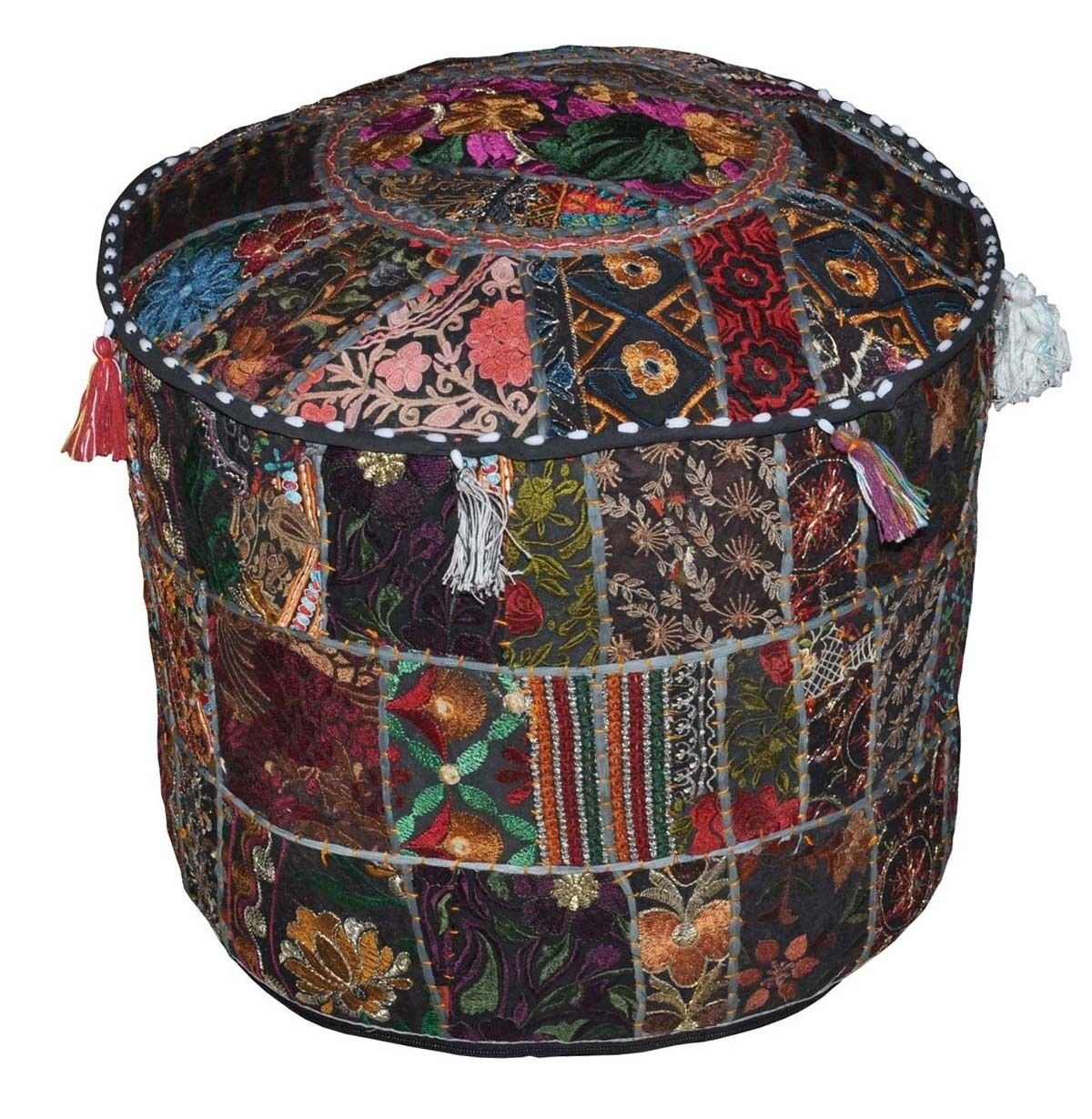 Bohemian Indian Pouf Ottoman Patchwork Pouf Cocktail Living Room Bean Bag Hassock Cover Floorseat Stool 12 x 16 Inch by BhagyodayFashions