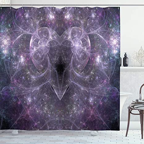 Amazon Com Ambesonne Fractal Shower Curtain Space Surreal Vibrant Ombre Heart On Stars Cosmos Backdrop Love Romance Print Cloth Fabric Bathroom Decor Set With Hooks 70 Long Purple Home Kitchen