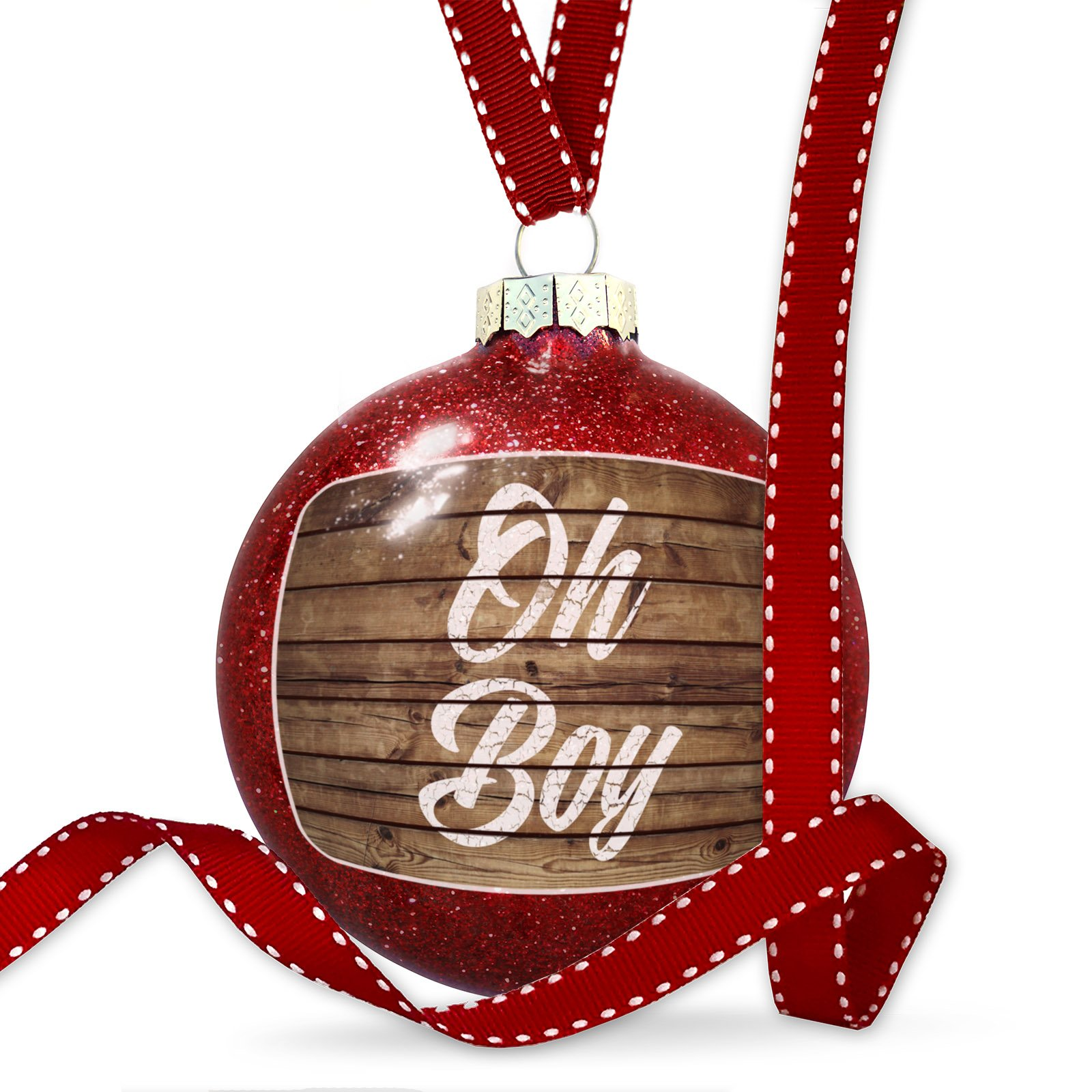 Christmas Decoration Painted Wood Oh Boy Ornament