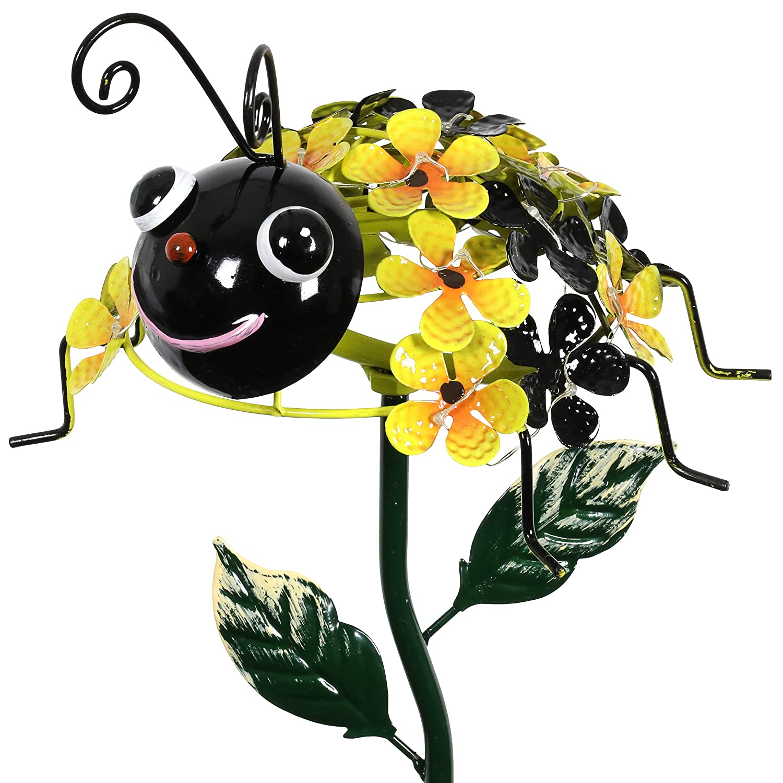 "Exhart Bumble Bee Garden Stake – Bumblebee on a Solar Flower Garden Stake – 21"" Metal Garden Stake w/ 26 Led Solar Lights – on Yellow Flower Petals That Illuminate Your Bumblebee Garden Decor"