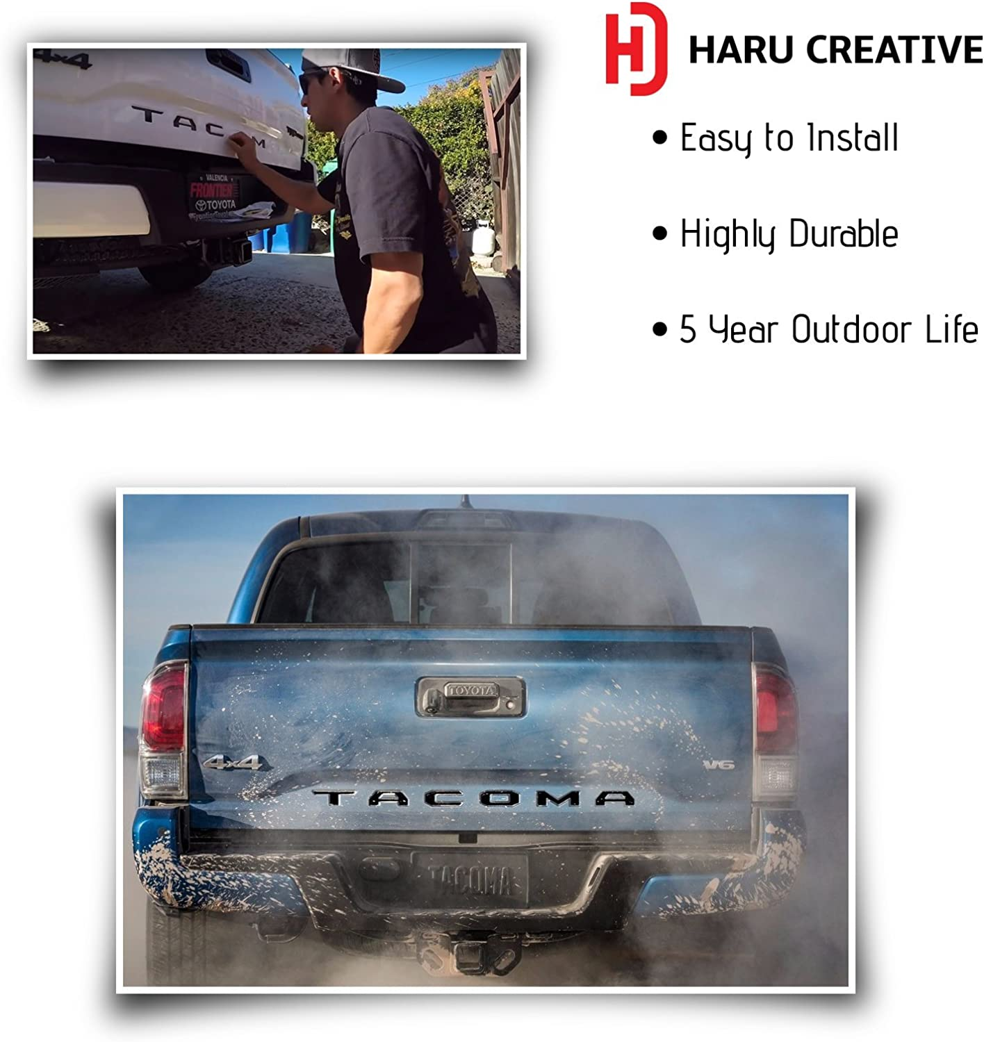 Matte Black Haru Creative Rear Trunk Tailgate Letter Insert Decal Sticker Compatible with and Fits Toyota Tacoma 2016 2017 2018 2019