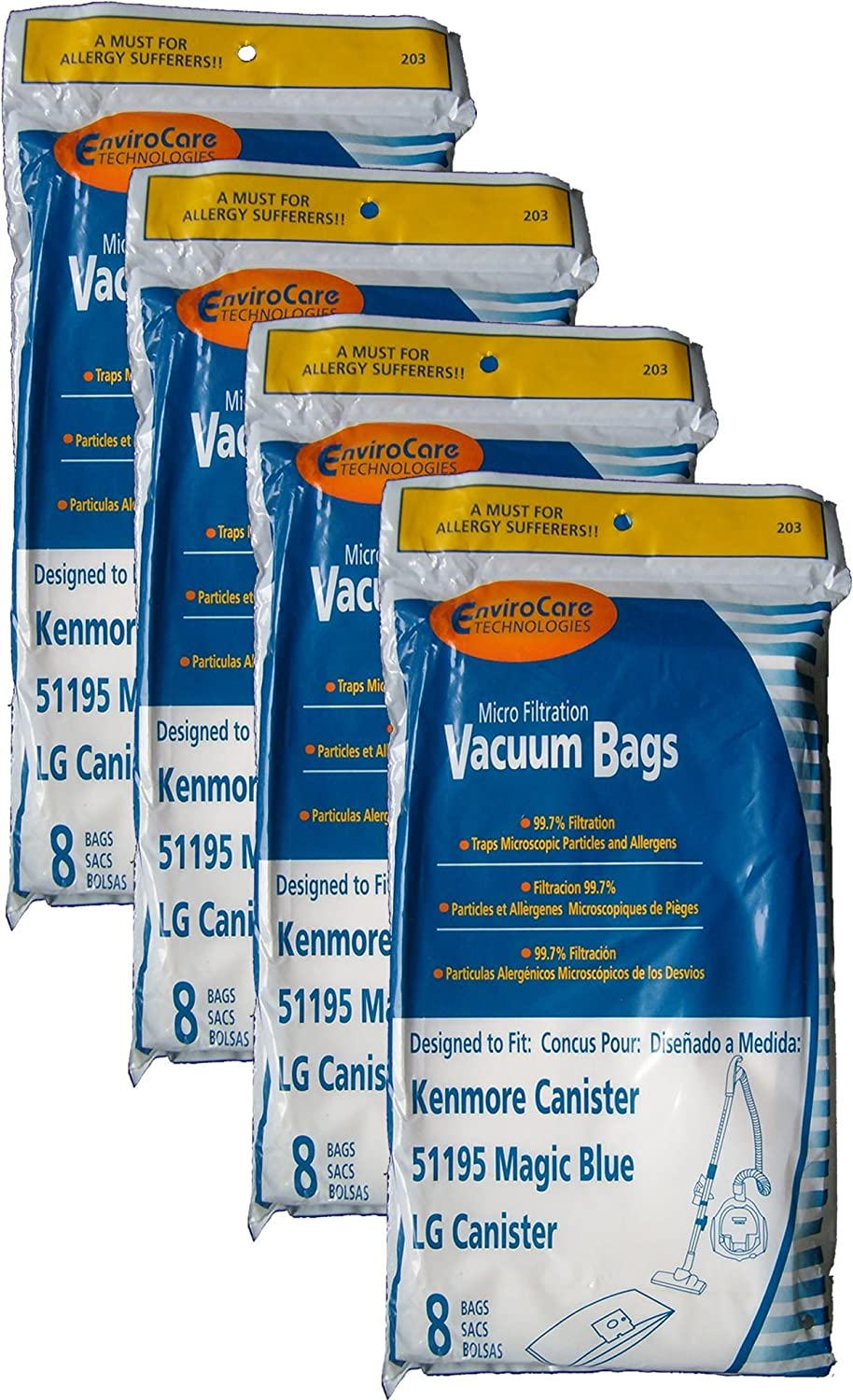 32 Kenmore Type M Sears 51195 Magic Blue LG Vacuum Bags, Ultracare, Canister Vacuum Cleaners, 20-51195, 609323, 21195, 21295, 24195, 21495