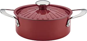 Rachael Ray Cucina Nonstick Casserole Dish/ Casserole Pan with Lid - 2.5 Quart, Cranberry Red