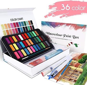 WOSTOO Set de Pinturas de Acuarela-50 Pzas Pintura de Acuarela Portatiles Set de Pinturas de Acuarela Sólida-36 Colores,2 Cepillos de Depósito de Agua, 2 Pincel de Nylon y 10 Papel: Amazon.es: Juguetes