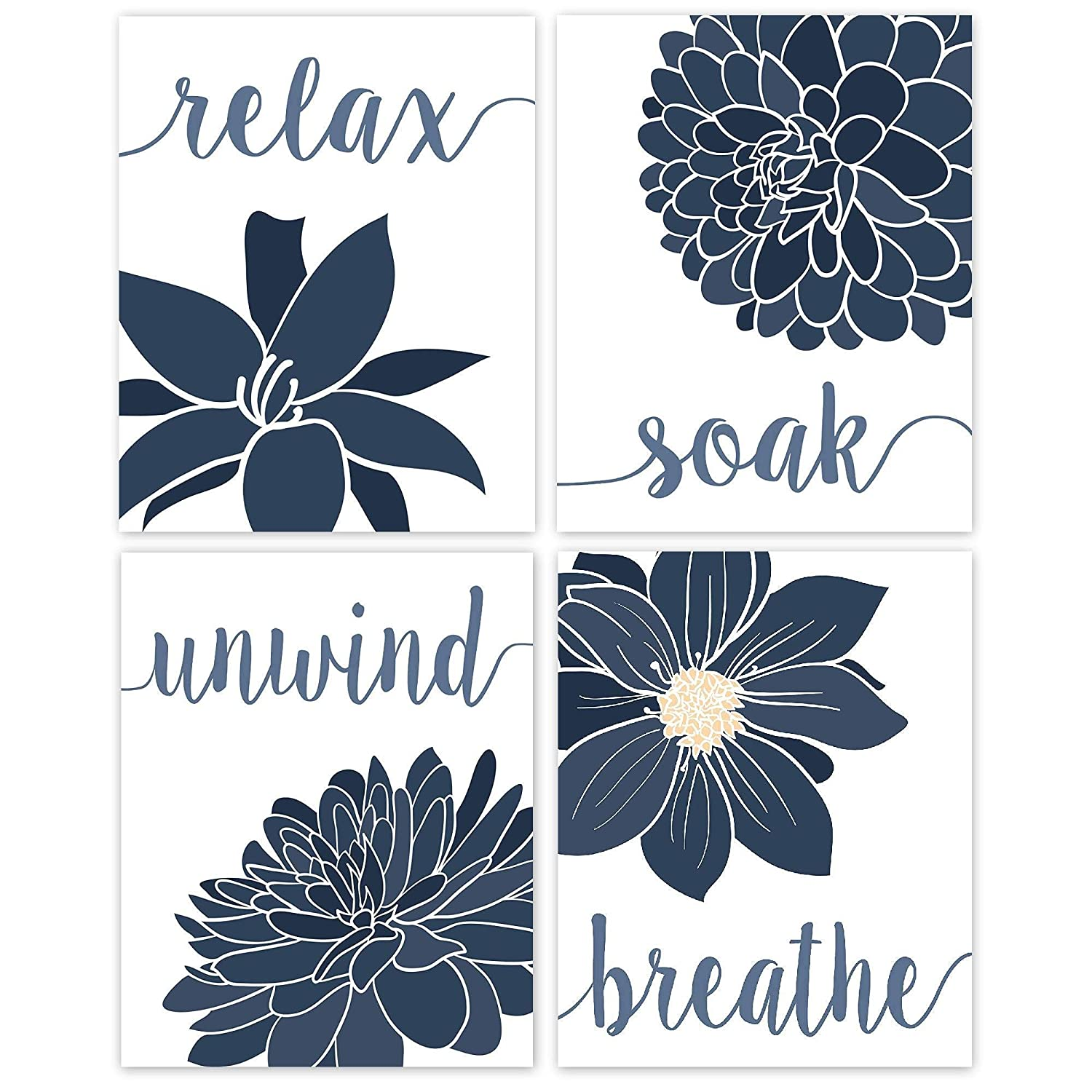 Relax, Soak, Unwind, Breathe Blue & White with Gray Tone Bath Flower Poster Prints, Set of 4 (8x10) Unframed Photos, Wall Art Decor Gifts Under 20 for College, Home, Student, Teacher, Floral Fan