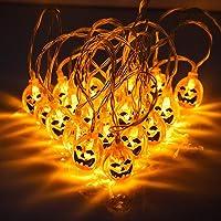 Luz de Calabaza - 20 LED 3.5m Guirnaldas Luminosas de halloween - luces de batería para Luces de Halloween, Fiesta de…
