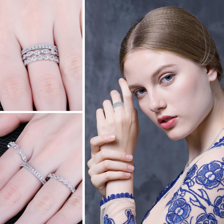 JewelryPalace Anillo elegante de boda adornado Circonita en plata de ley 925