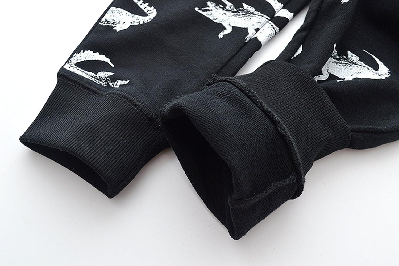 HUAER/& Boys Cartoon Print Monkey Dinosaur Camouflage Pattern Cotton Pants Drawstring Elastic Sweatpants