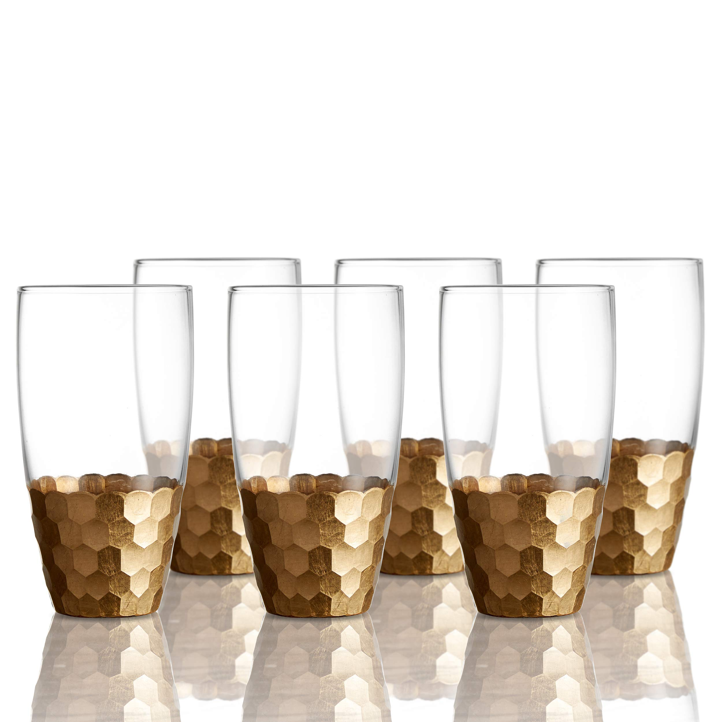 Fitz and Floyd 229705-6HB Daphne Highball Glass Set of 6 - Elegant Lead-free Matching Drinkware Perfect For Everyday Use Or Entertaining - Stylish Modern. An Ideal Gift, 3.3x5.9'', Gold