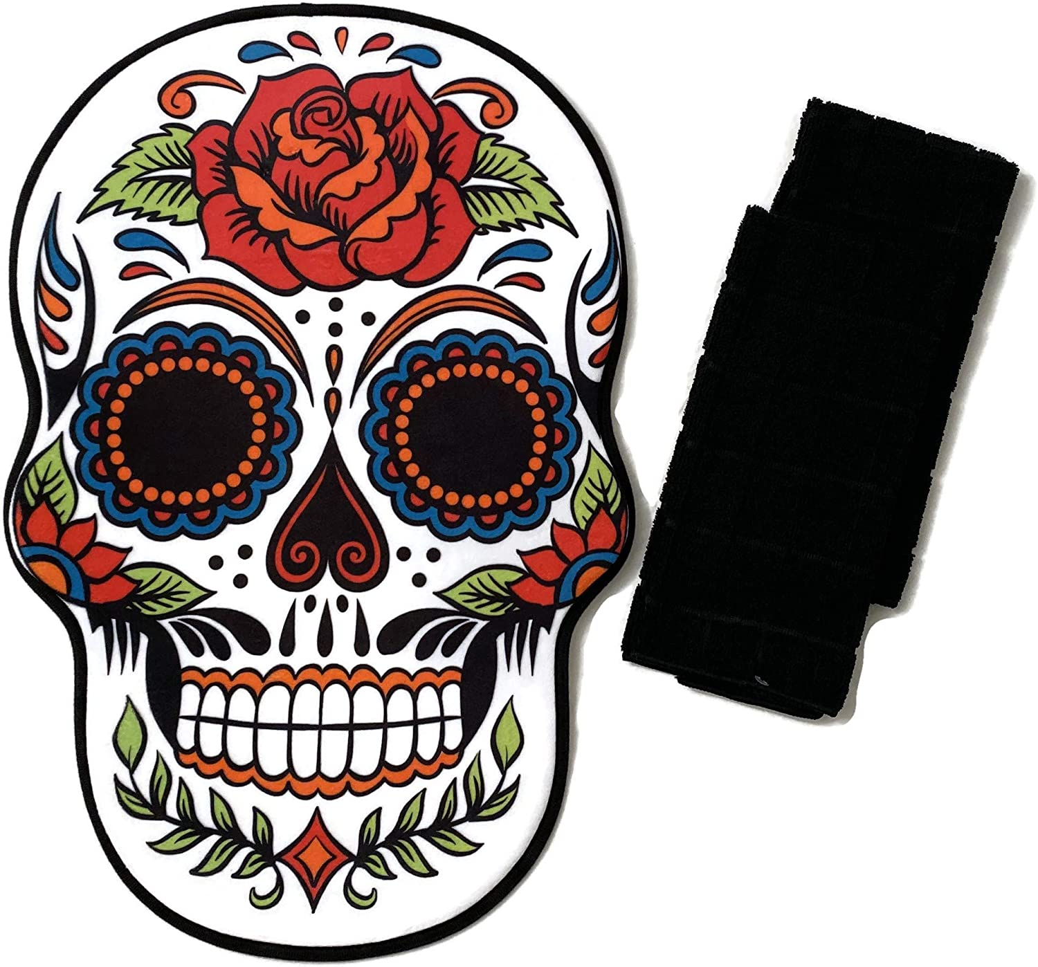 Sugar Skull Bathroom Set Bundle - Day of The Dead Halloween Skull Bathroom Floor Rug (18 x 24 in) and 2 Black Hand Towels (15 x 25 in).