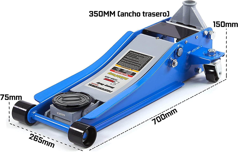 Cric idraulico carrello basso profilo profilo extra lungo 2 ton.