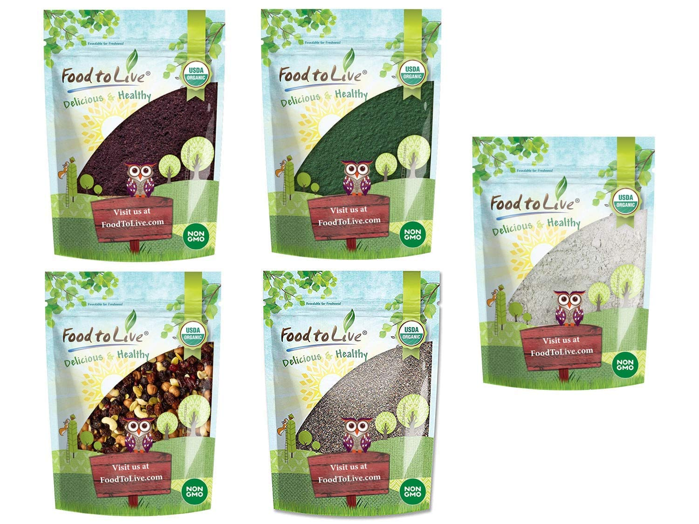 Organic Runner Gift Box - Acai Powder, Spirulina Powder, Pumpkin Seeds Protein Powder, Chia Seeds, Trail Snack Mix
