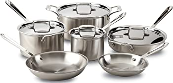 All-Clad 10-Piece Brushed D5 Stainless 5-Ply Cookware Set