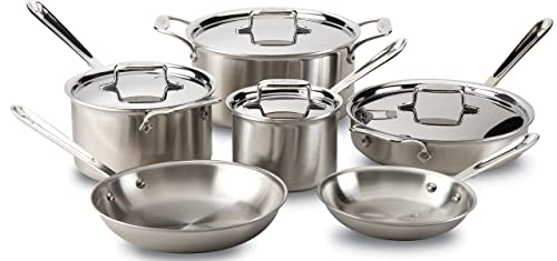 All-Clad Bd005710-R D5 Brushed 18/10 Stainless Steel Cookware Set