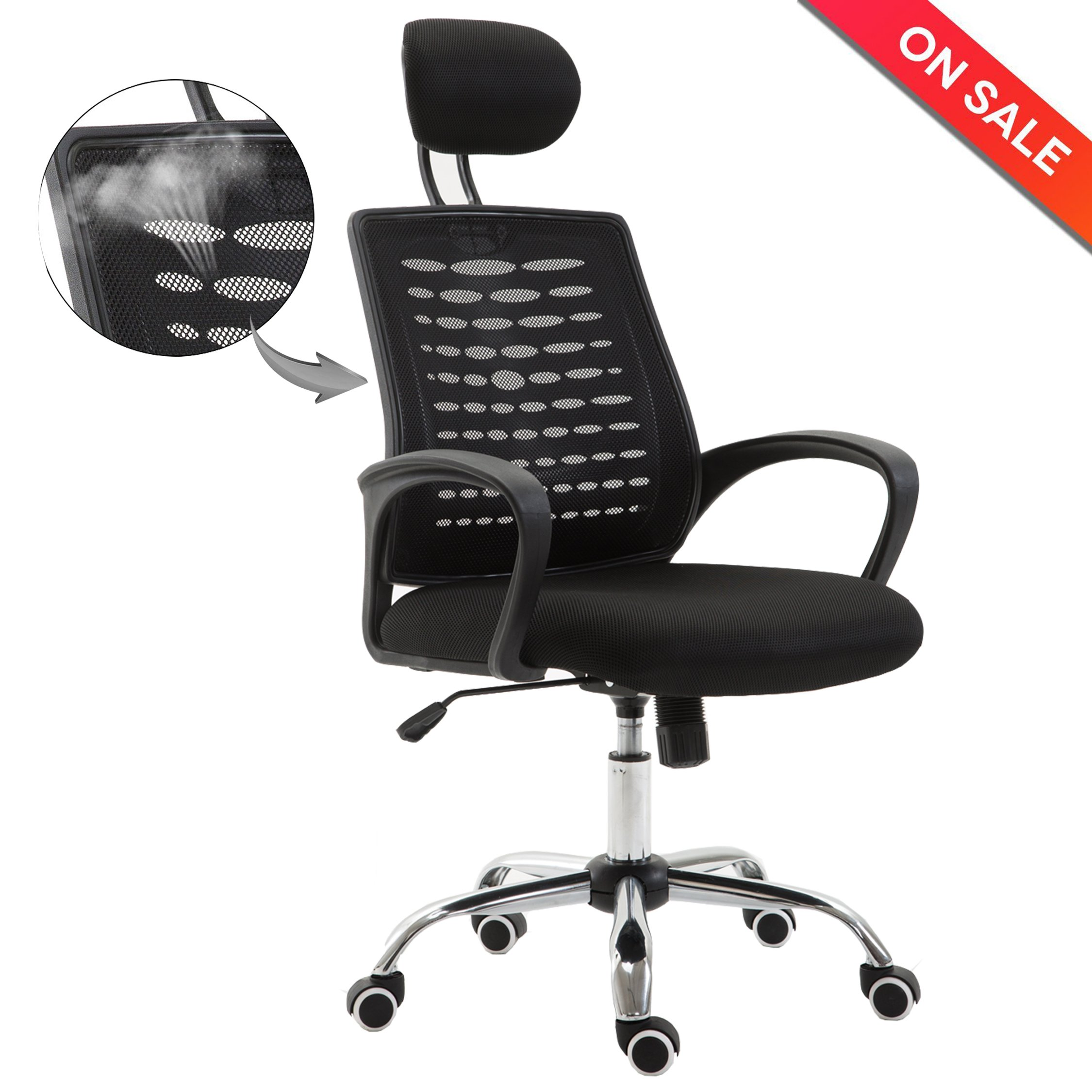 Muzii Ergonomic Office Chair Adjustable High-Back Mesh Task Executive Chair with Headrest Arm Rest for Home Office (Task Chair)
