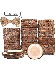 Rodajas de Madera Círculos (6-7cm) (8-9cm) TICOSH Discos de Madera Rebanada + 10m Cuerda de Cáñamo Maderas Naturales Perforado Con Corteza de Árbol Para Manualidades DIY Artesanía Adornos Para Mesa