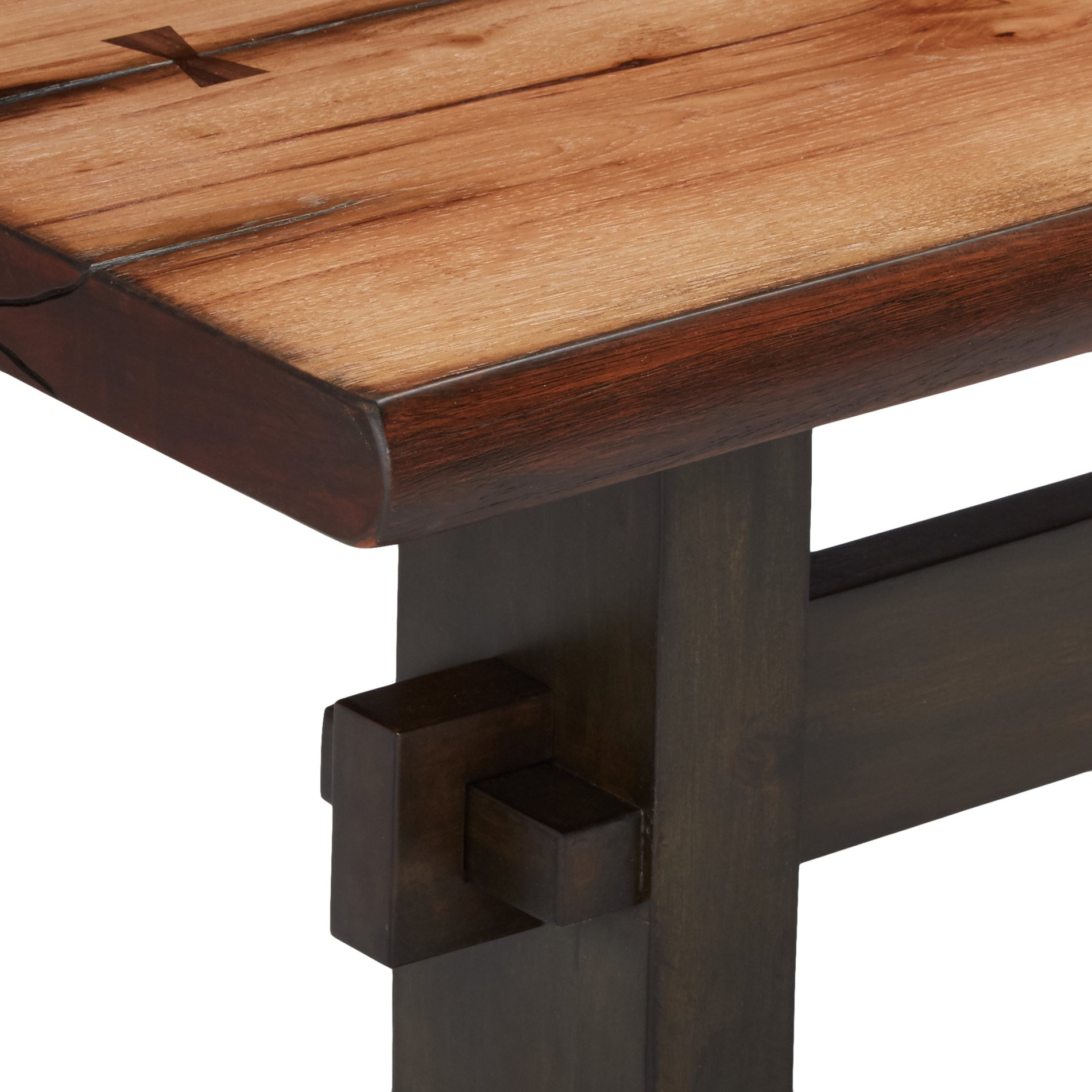 Burnham Two-Tone Live Edge Dining Bench with Trestle Base Natural Honey and Espresso by Scott Living (Image #4)