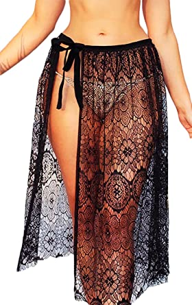 d62907e6ed Image Unavailable. gllive Women Sexy Beach Sarong Sheer Crochet Lace  Chiffon Tie Split Hollow Out ...