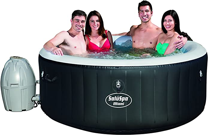 Amazon Com Bestway Hot Tub Miami 4 Person Black Garden