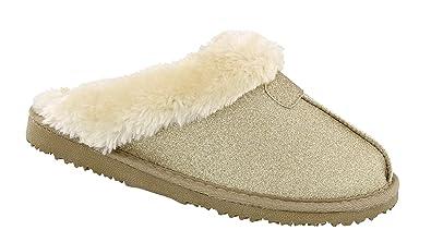 811b8d6fc2ab9 Women s Ella Sparkle Glitter Warm Faux Fur Lined Memory Foam Mules  Slippers  Amazon.co.uk  Shoes   Bags