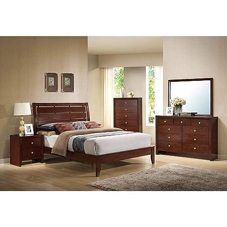 Amazon.com: acme Ilana Brown Cherry 4-Piece Bedroom Set ...