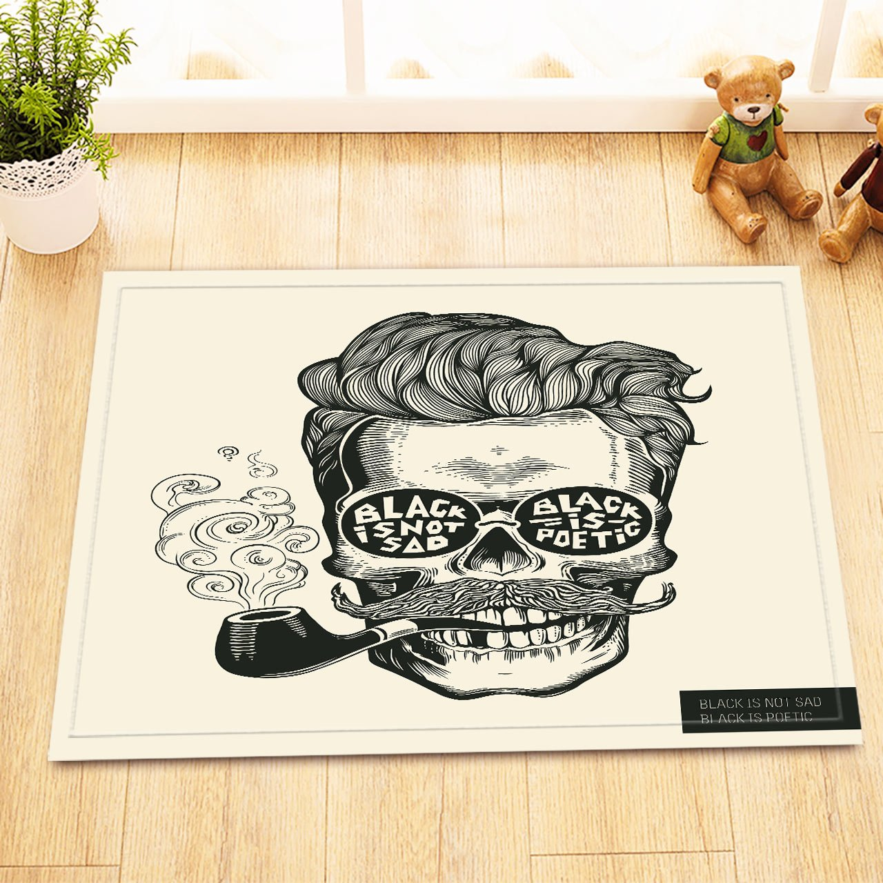 LB Vintage Skull Tobacco Pipe Inspiring Quote Bathroom Decorations Rugs, Safe Non Slip Backing Comfortable Soft Surface, Hipster Design Skull Theme Decorations 15 x 23 Inches