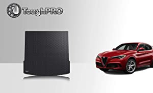 ToughPRO Cargo/Trunk Mat Compatible with Alfa Romeo Stelvio - Without Subwoofer - All Weather - Heavy Duty - (Made in USA) - Black Rubber - 2018, 2019, 2020