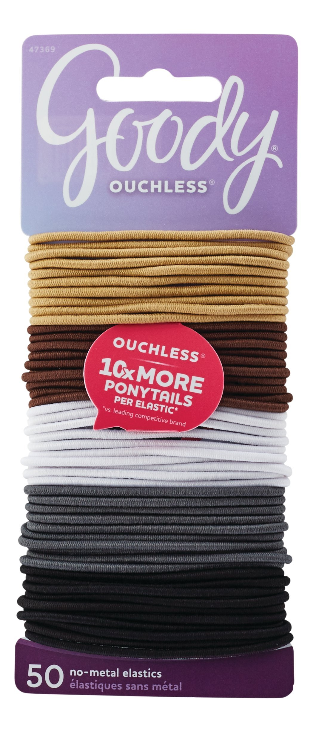 Goody Women's Ouchless 2 mm Elastics, Neutral, 50 Count